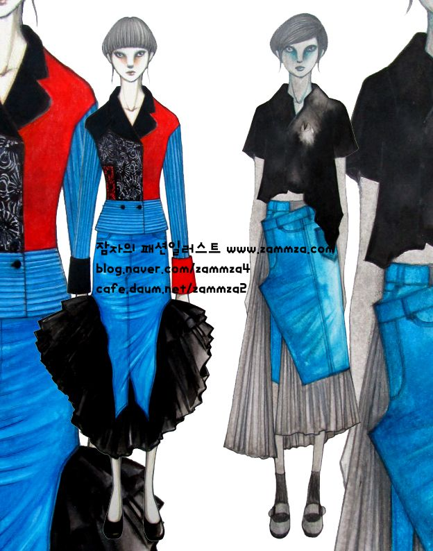 JEANS Fabric ♥ ink+marker+colorpencil ♥ zammza fashion illustration ♥ instagram.com/zammza