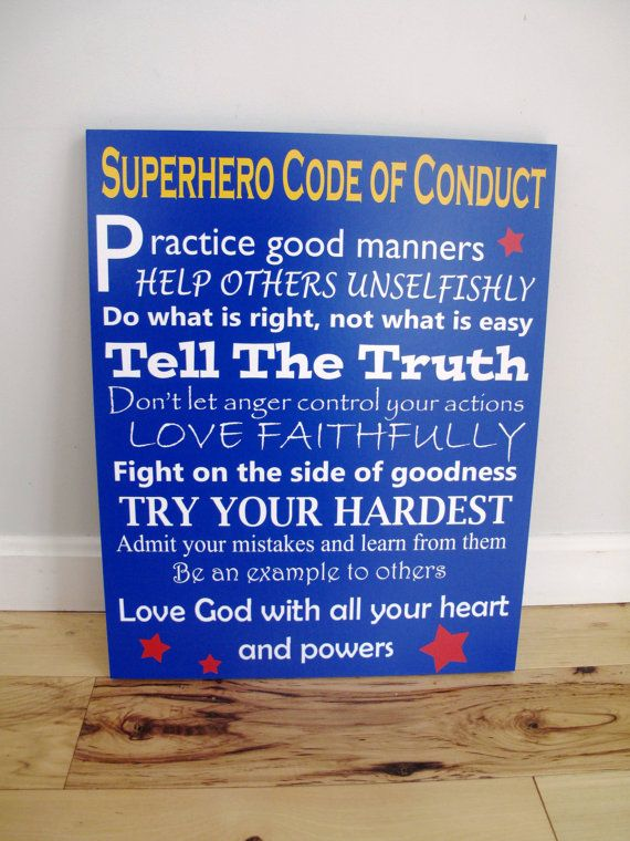 Hey, I found this really awesome Etsy listing at https://www.etsy.com/listing/189259213/superhero-code-of-conduct-photo-mounted