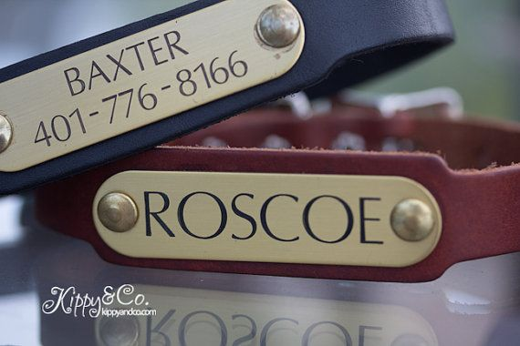 Personalized Pet Collar Leather Dog Collar Engraved by kippyandco, $25.00