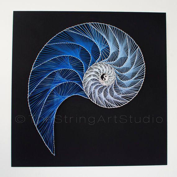 String art Nautilus Yin Yang abstract by TheStringArtStudio