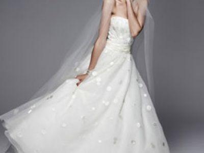 Robe de mariée à pois