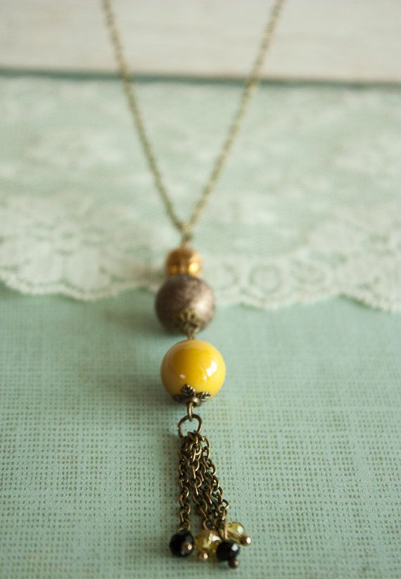 Chain Tassel Pendant Orange Beads Pendant by BeautyfromashesUSA