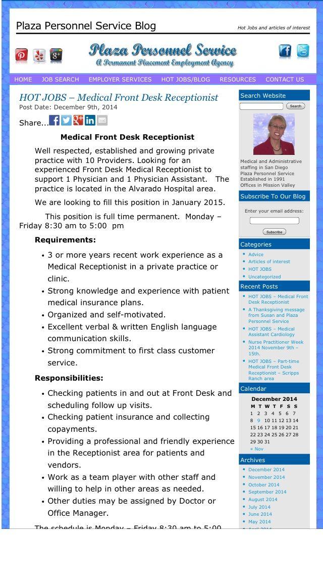 De 25+ bedste idéer inden for Medical receptionist på Pinterest - medical receptionist