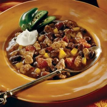 Southwest Black Bean Soup - use turkey or chicken brats instead.