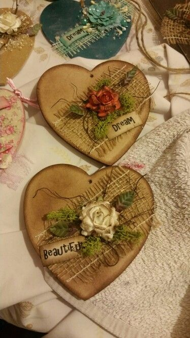 Mdf distressed and decorated hearts