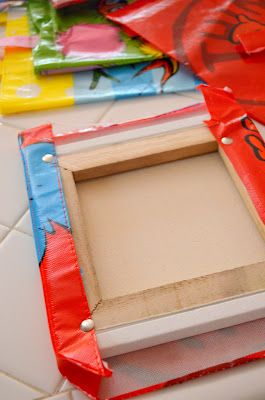 $1 Bin Dr. Seuss Wall Art : Use thumb tacks to adhere the bag to a small canvas.