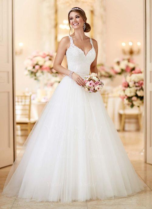 Robes de mariée - $209.99 - Forme Marquise Col V Traîne moyenne Tulle Robe de mariée avec Motifs appliqués Dentelle (0025098274)