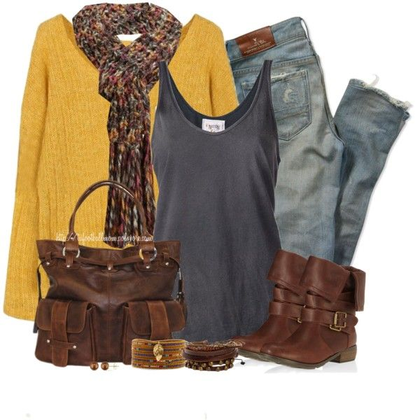 Fall in a Solid Yellow Sweater, created by tufootballmom on Polyvore