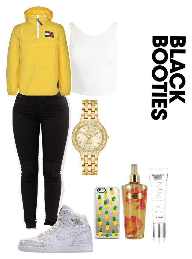 """""""Air Jordan Retro 1 Outfit"""" by benginafantaisie ❤ liked on Polyvore featuring Sans Souci, Citizen, Casetify, Tommy Hilfiger and Victoria's Secret"""