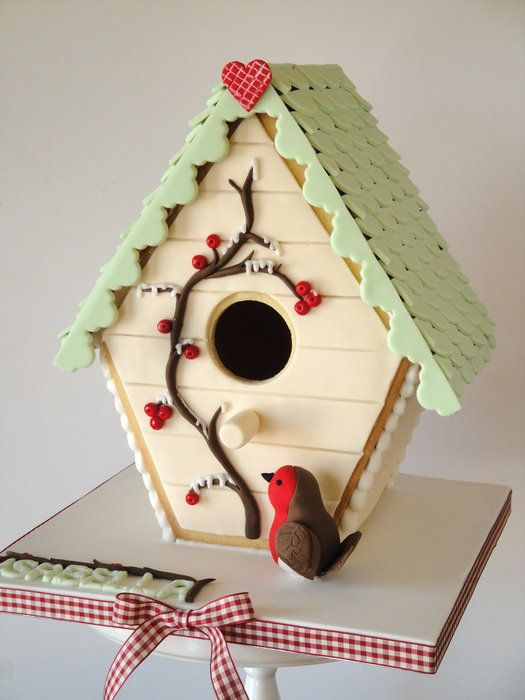 GINGERBREAD HOUSE~Winter Bird House - by Magical Cakes @ CakesDecor.com - cake decorating website