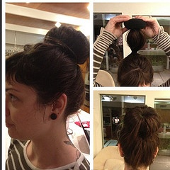 I helped Mary do her first sock bun!