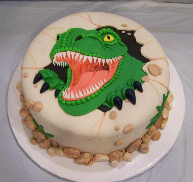 all fondant t-rex cake