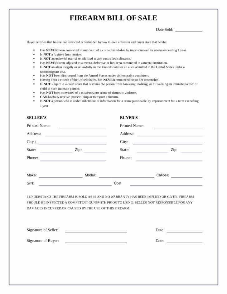 Florida Firearm Bill Of Sale Inspirational Handgun Bill Sale Florida Indiana Private Firearm Va Yearbook Template Contract Template Bills