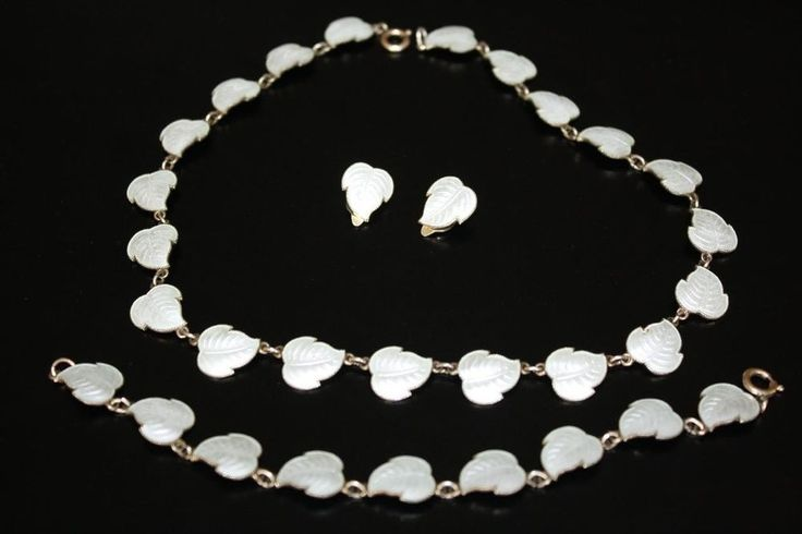 H.C.ØSTREM VINTAGE SILVER 925S ENAMEL LEAF NECKLACE BRACELET & EARRINGS SET #HCstrem