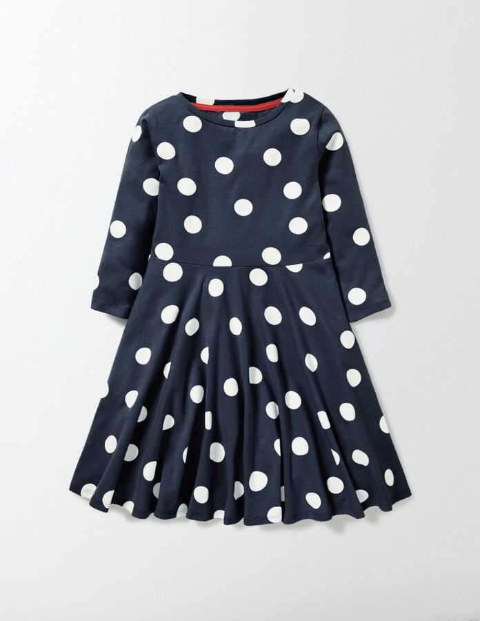 We've gone totally dotty over this spotty dress. The soft, cotton-rich jersey design has a sweet contrast waistband and piping on the back of the neck. But the best part is the full skirt that just has to be twirled in. Perfect for every budding ballerina. #afflink