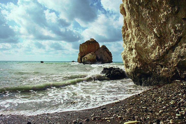 George Westermak Photograph - Mediterranean Sea, Pebbles, Large Stones, Sea Foam - The Legendary Birthplace Of Aphrodite by George Westermak#GeorgeWestermakFineArtPhotography #ArtForHome #FineArtPrints #travel #Beach