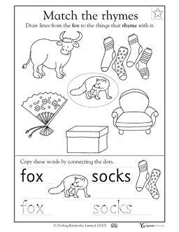 Free Kindergarten Cut And Paste Rhyming Worksheets. Free