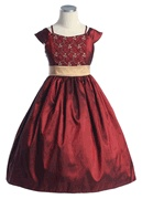 Burgundy and Gold Holiday Dress