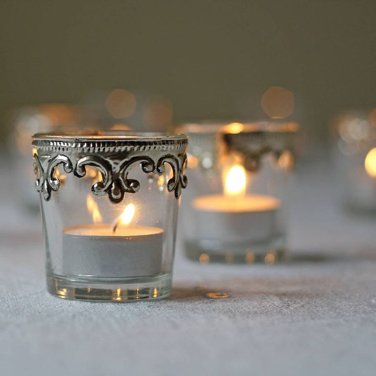 set of two silver and glass tea light holders by the wedding of my dreams | notonthehighstreet.com