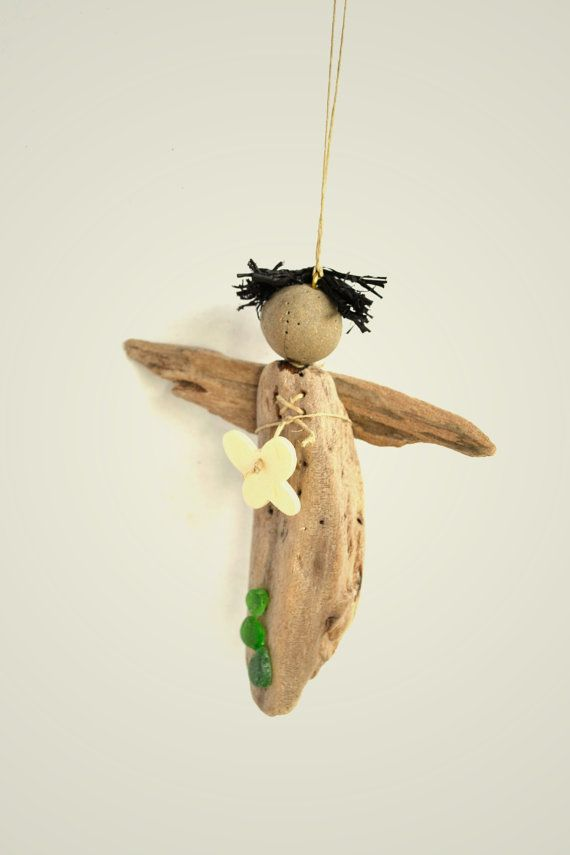 Handmade driftwood angel decorated with green sea glass