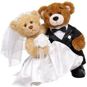 Bride and Groom Teddy Bears | Blushing Bride Curly Teddy & Groom Bearemy®