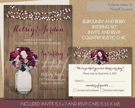 Country Mason Jar Wedding Invitation Set - Purple wine Burgundy Roses DIY Rustic Wedding Invite, String Lights Digital Printable by NotedOccasions