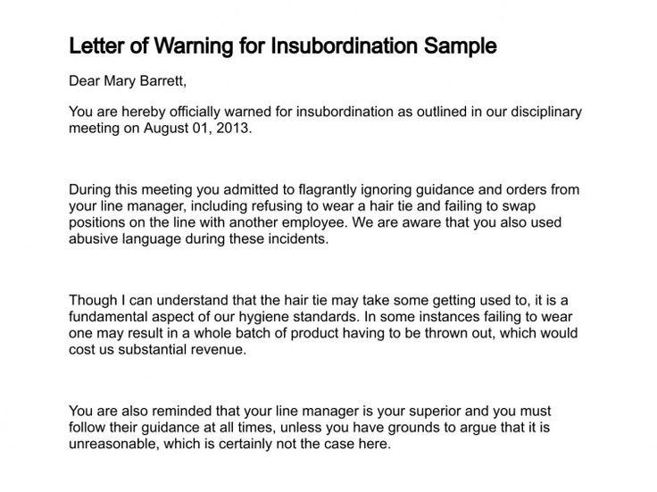 sample insubordination letters termination letter for employee