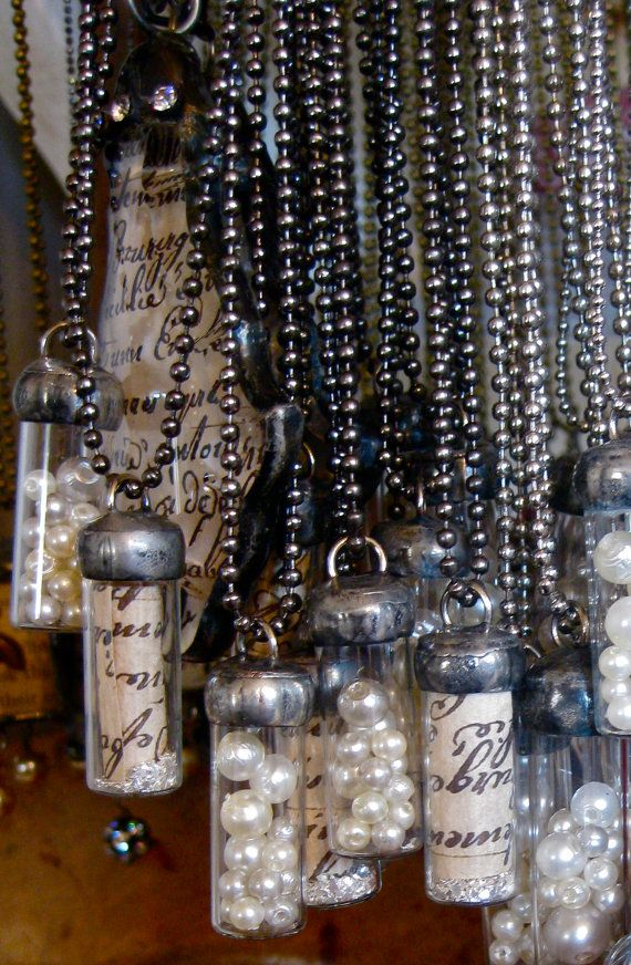 """""""message in a bottle"""" and """"pearls of wisdom"""" necklaces - would be pretty with ribbon chains instead"""