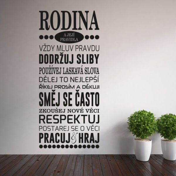 Samolepka na stěnu Wallvinil Family Rules | Bonami