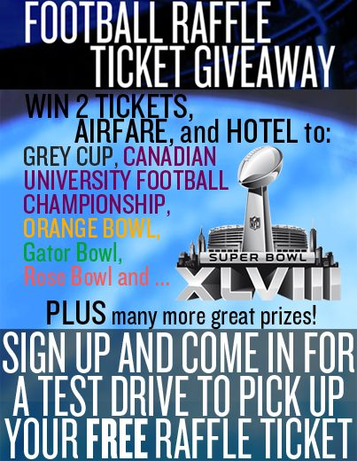 Win HOTEL, AIRFARE, AND 2 TICKETS to the #RoseBowl, #GreyCup, and even the #SuperBowl! All you have to do is click to sign up and come in for a test drive where you will pick up your free raffle ticket. There are also many other prizes to be won which offer a 1 IN 25 CHANCE! What are you waiting for? Sign up and call us at (905) 459-2600 to set up an appointment for your test drive today! p.s. Make sure you have liked our page or you will not be able to see the signup form.