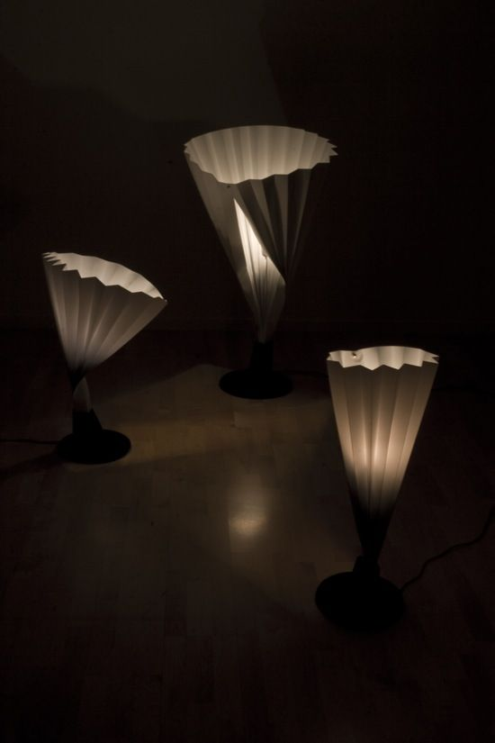 Stockholm french designer emma marga blanche presented these pleated lamps as part of 20 designers at biologiska see our earlier story