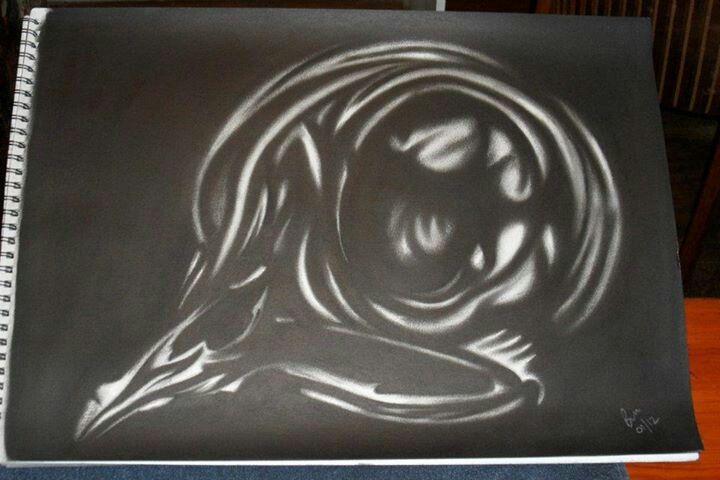 Charcoal birdy skull
