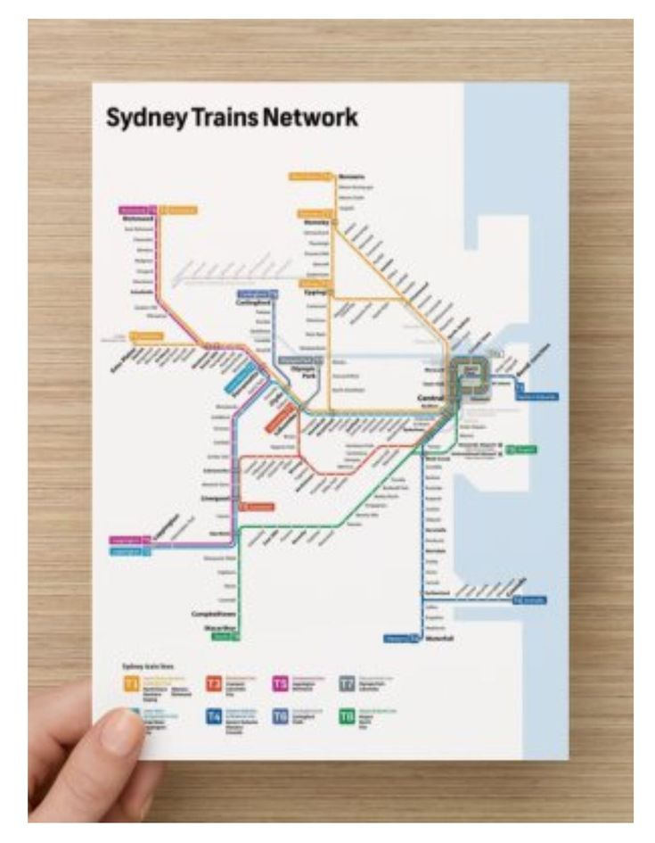 This is Sydney NSW Metro Rail Train Pocket Map. Easy to carry everywhere, and perfect to attach to your notebook or Kikki.K Diary, so you will easily navigate and finding the train line and transit stations.