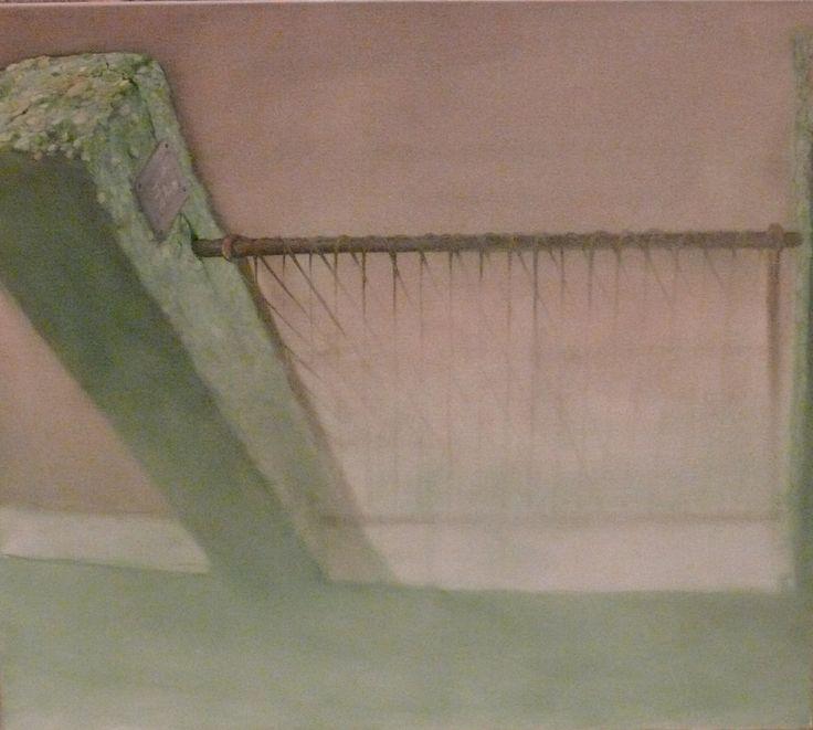 Herman Levente: Fal – Az ötödik elem / Wall - The Fifth Element - 2009 - olaj, vászon / oil on canvas - 80x 90 cm