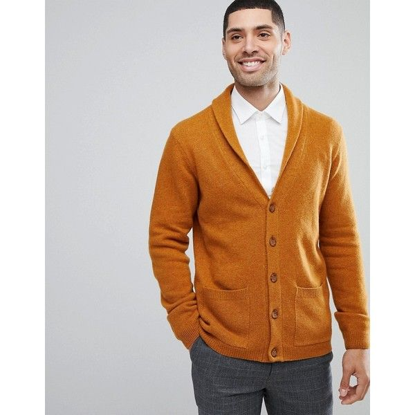 ASOS Lambswool Shawl Cardigan In Golden Brown (482.530 IDR) ❤ liked on Polyvore featuring men's fashion, men's clothing, men's sweaters, brown, mens brown cardigan sweater, mens shawl collar sweater, mens brown sweater, mens cardigan sweaters and mens shawl collar cardigan sweater