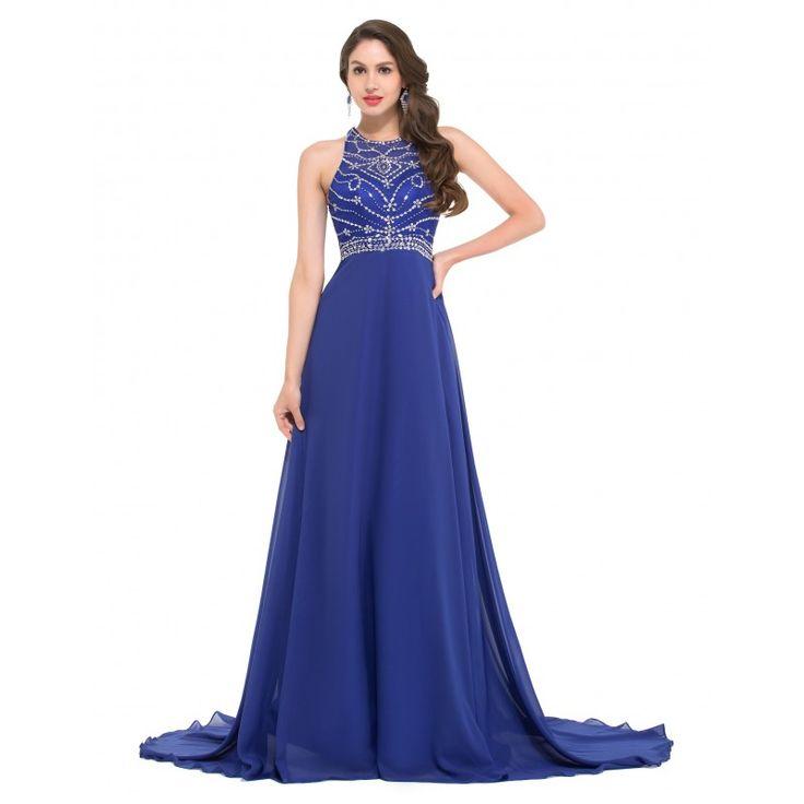 Modré spoločenské šaty GK000024
