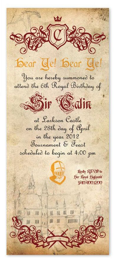 Knight Birthday Invitation. $17.00, via Etsy.
