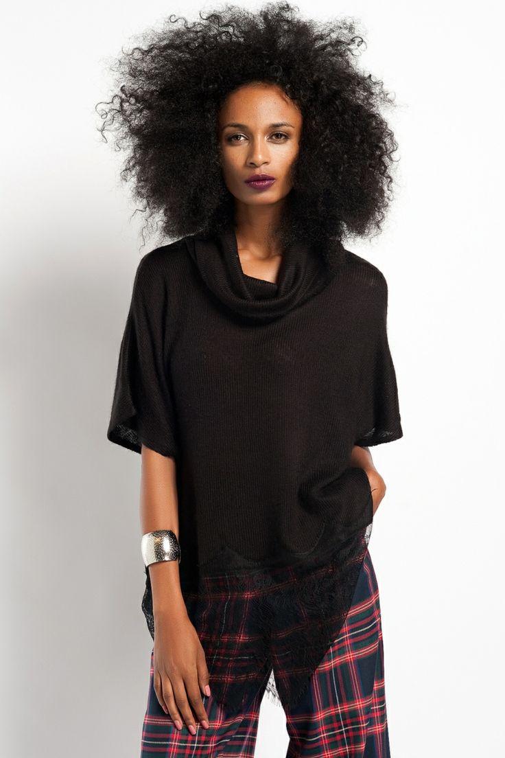 Modagram Tida Dantelli Kazak Siyah, Üst Giyim Modelleri