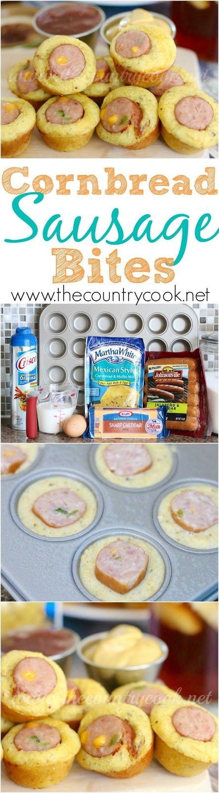 Cornbread Jalapeno Cheddar Sausage Bites recipe. The kids would love these! Great snack for a football party!