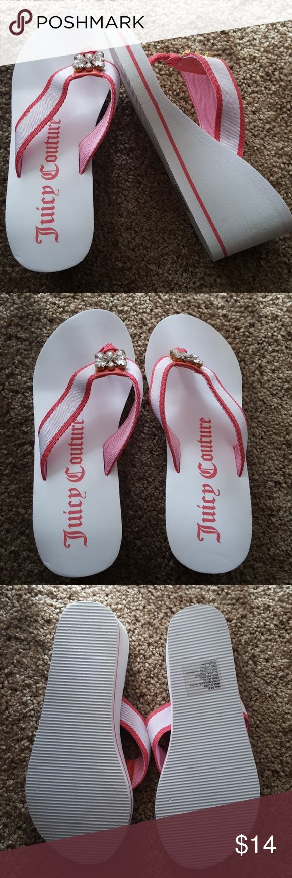 Juicy Couture pink white wedge flip flop sandals Good condition.  Aprox Wedge 3''. White and pink canvas straps. Rhinestone flower detail. Super comfy. Upper: mam made textile. Outsole: man-made Juicy Couture Shoes