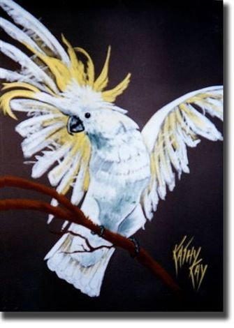 Billy - Cockatoo - Pastels Painting by Australian Artist for sale by Kathy Kay