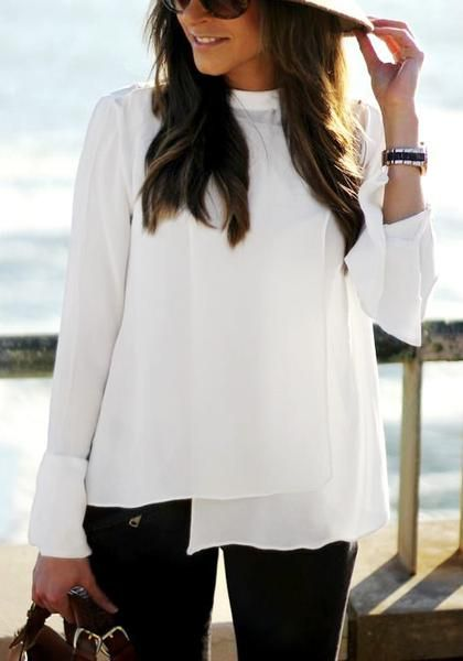 Nothing can be more refreshing than a white piece of clothing, especially if it's as pretty as this white asymmetric layered chiffon blouse.