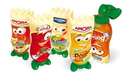 """Miam's d'Amora are primary packaging invented by Amora. The aim is to transform a standard Mayonnaise or Ketchup jar into a fun product adapted for kids: Miam's are plastic jars character-shapped. Miam's shape looks like toys in order to differentiate from competitors. Rather than buying a big jar for the whole family, one mother will buy a standard jar for parents plus a special one for children. The """"toy packaging"""" is part of Amora's selling strategy and is very judicious."""