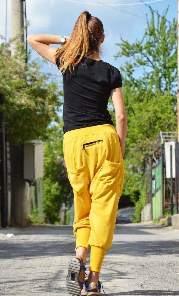 Extravagant Pants Women Yellow Trousers Pants Women Cotton Etsy Hosen Damen Walking Sofia Bulgaria