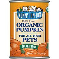 Nummy Tum-Tum Pure Organic Pumpkin Canned Dog & Cat Food Supplement, 15-oz, case of 12
