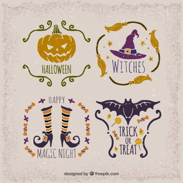 Selection of vintage stickers for halloween Free Vector