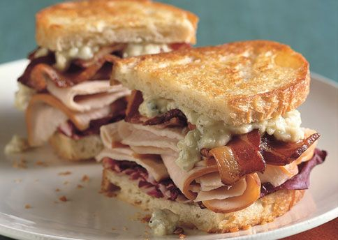 Grilled Turkey, Bacon, Radicchio, and Blue Cheese Sandwiches: Blue Cheese, Food, Cheese Sandwiches, Grilled Turkey, Chicory, Sandwich Recipes, Sandwiches Recipe, Thanksgiving Leftover, Turkey Bacon