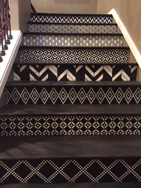 Black and White Modern Mrooccan Geometric Patterns - Stenciled Stairs with Custom Modello Stencils - Interior Decorating Ideas - Painted by Tracy Wade and Jen Brooks