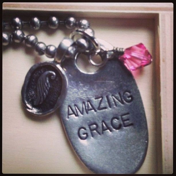 Amazing Grace ~ Jack Tag and Wax seal Angel wing. Birthstone Crystal