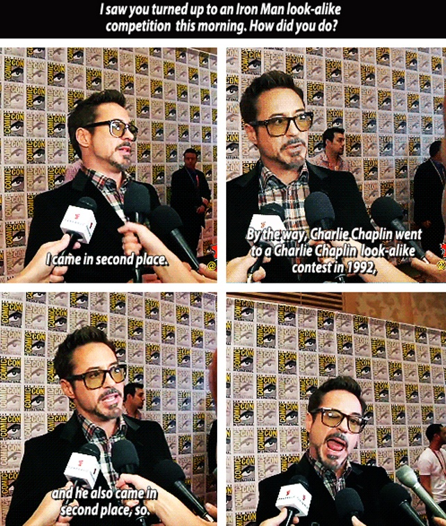 Robert Downey Jr. interviewed at San Diego Comic Con 2012.   Amazing.